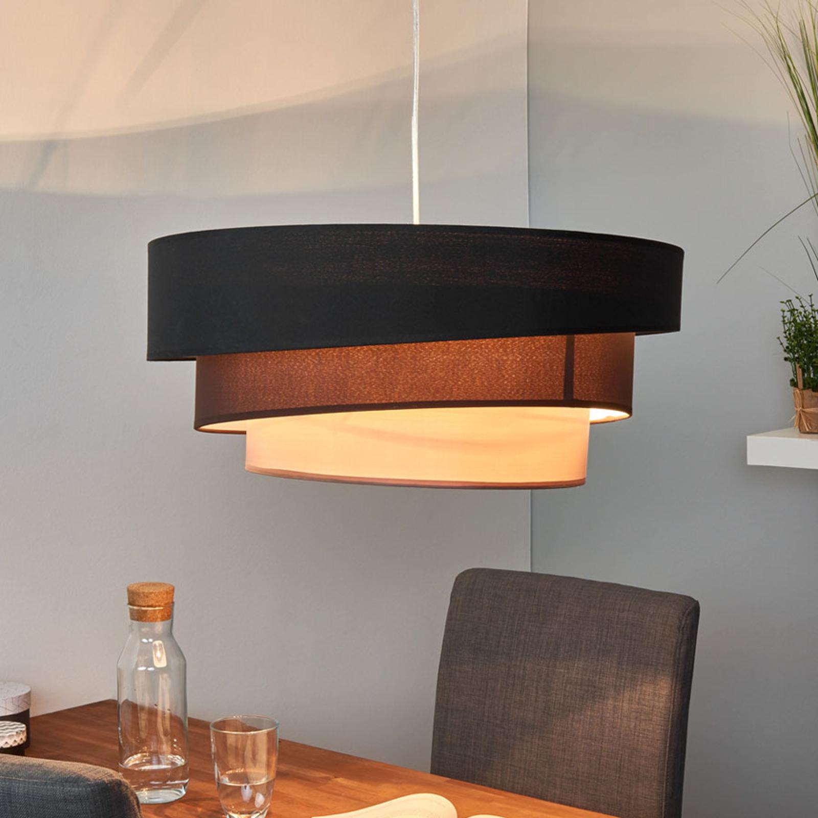 Ciemna lampa wisząca Melia, czarno-brązowa