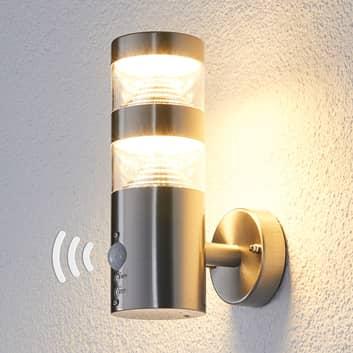 Lanea LED-væglampe i rustfrit stål, lige, sensor