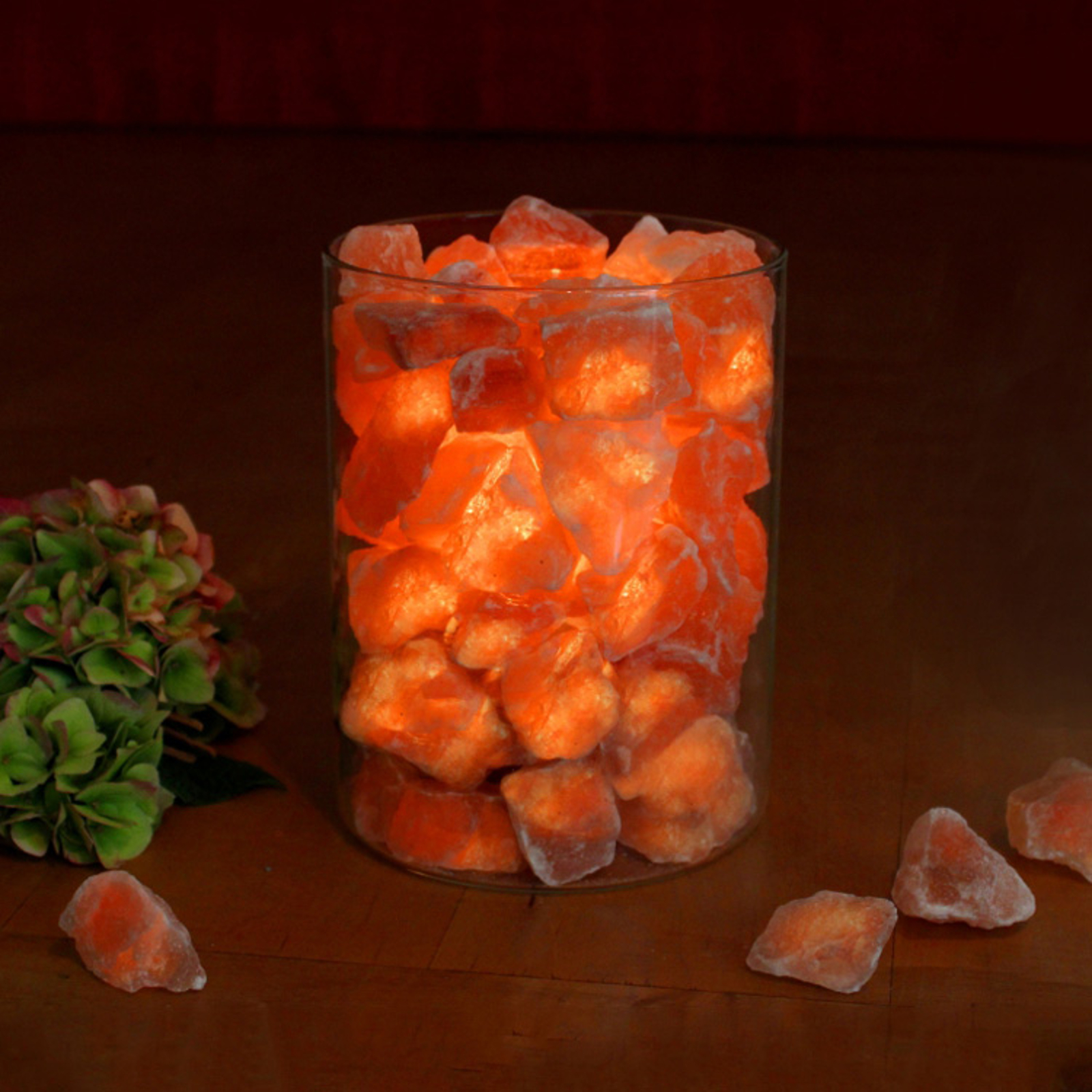 Salzkristall-Feuer im Glas