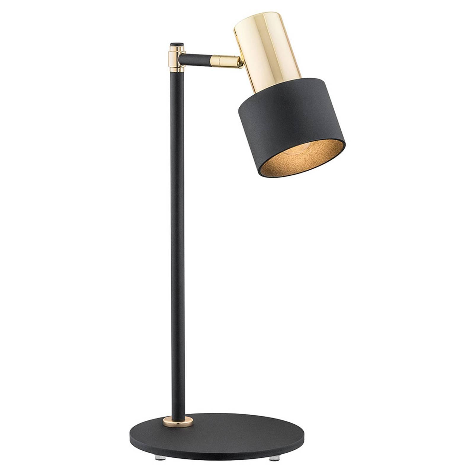 Lampe à poser Destin réglable, noire/laiton