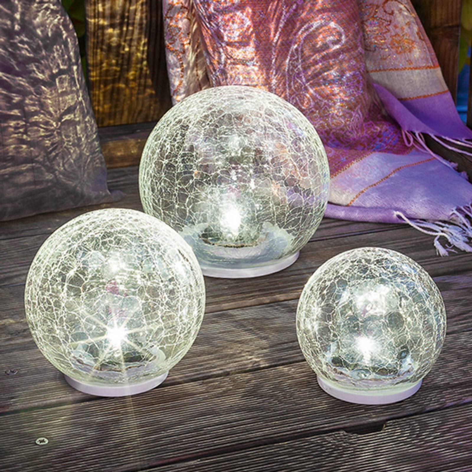 3-częśc. zestaw lamp solarnych LED Crackle Ball