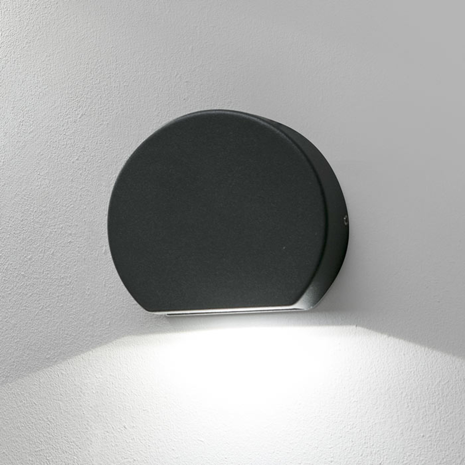 Ronde LED buitenwandlamp Pill in donkergrijs
