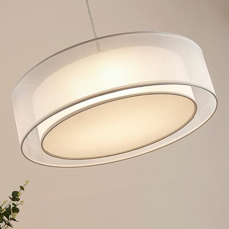 Pendellampe Amon i tekstil, dimbare LED-lys, hvit