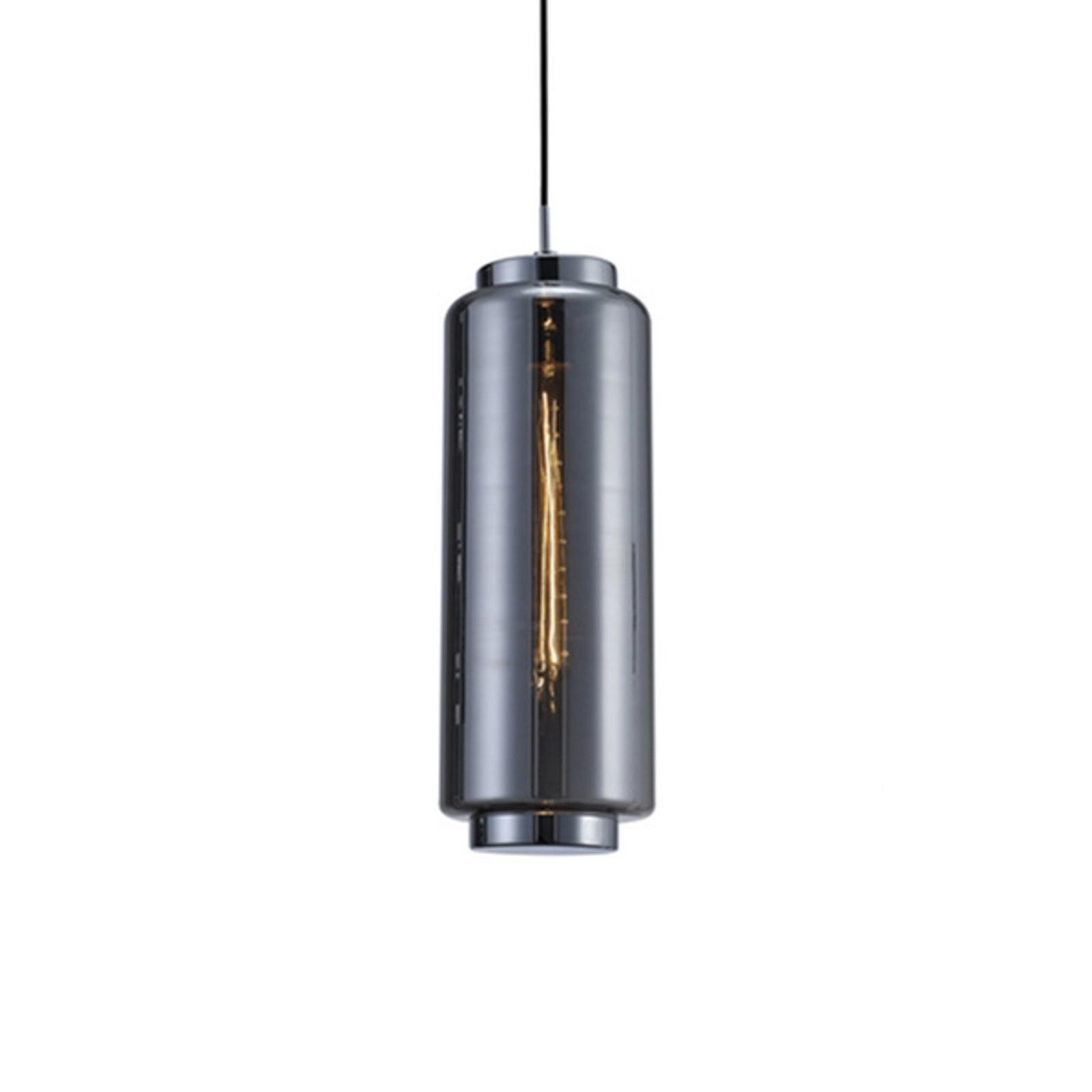 Szklana lampa wisząca Jarras, 53,5 cm, chrom