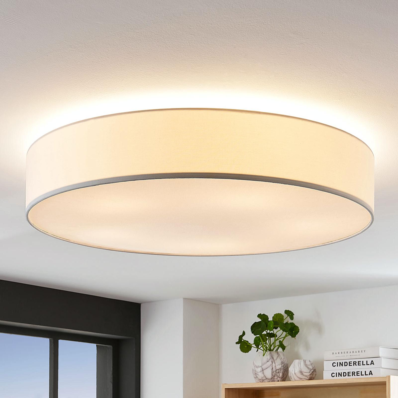 Stoff-Deckenlampe Gordana in Weiß, 76 cm
