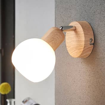Gradevole spot LED Svenka, monolampada look legno