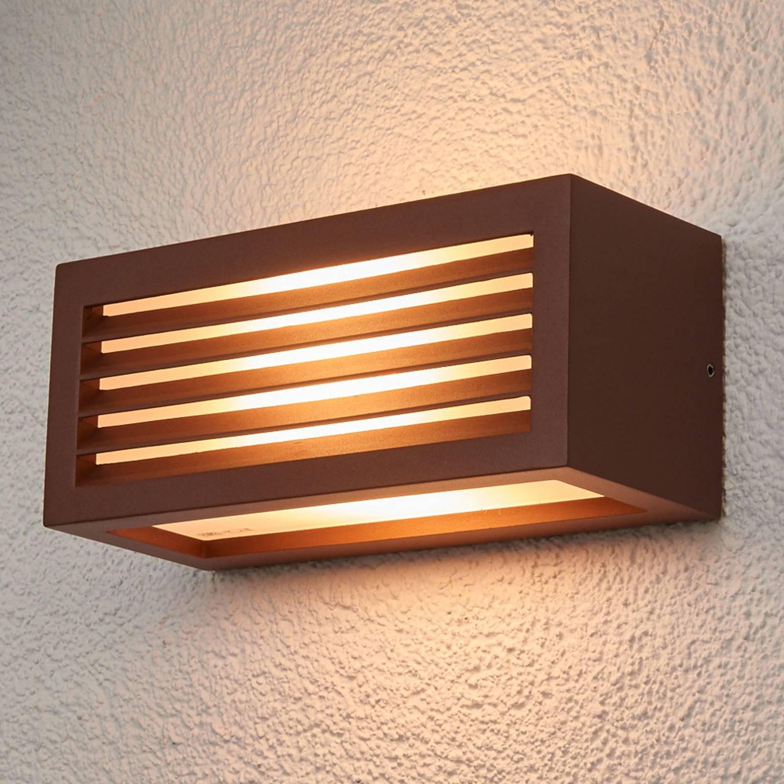 Lampada a muro da esterno Box L E27, marrone rug.