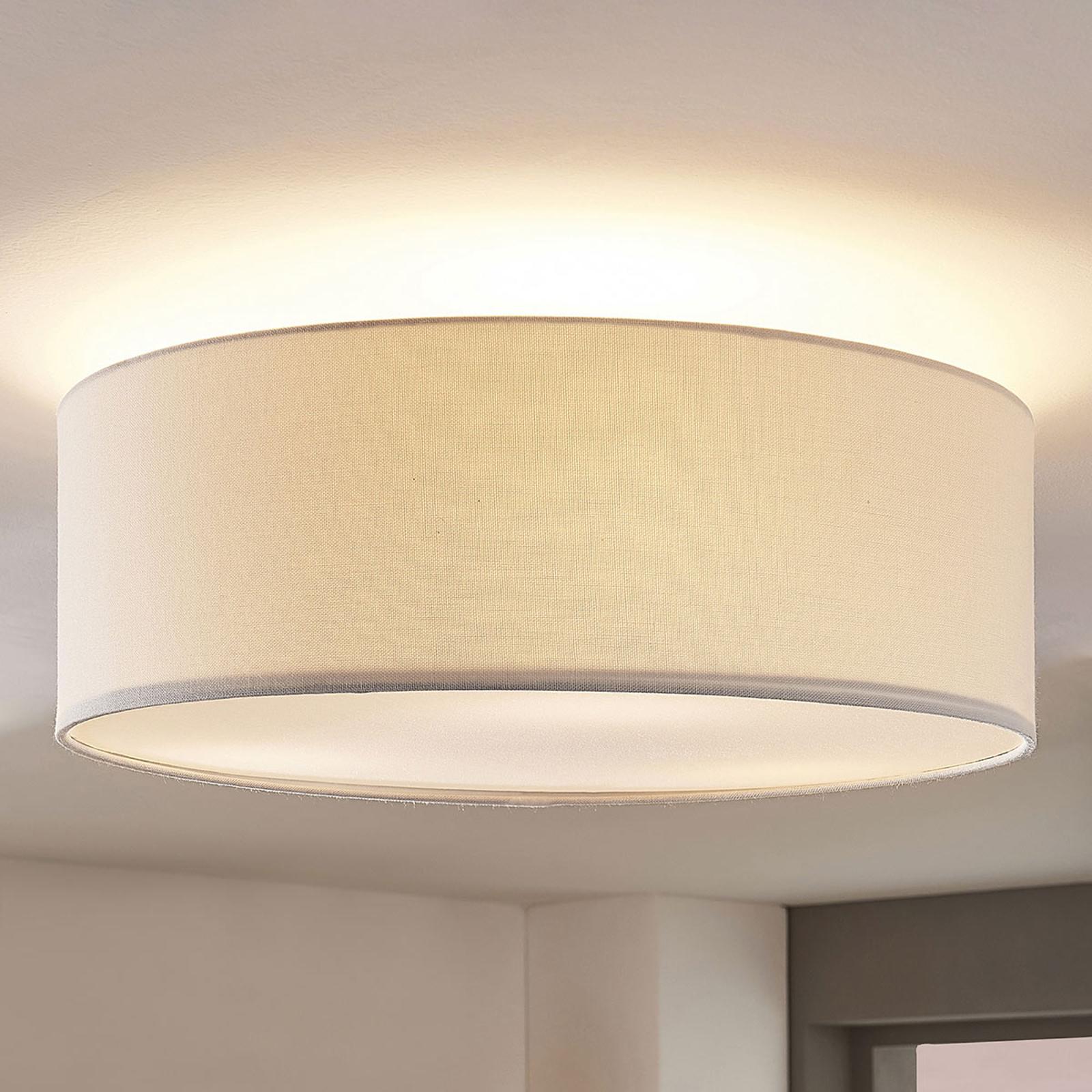 Stoff-taklampe Mariat med rund skjerm av lin