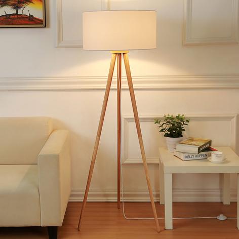 Lámpara de pieCharlia de tela, tres patas