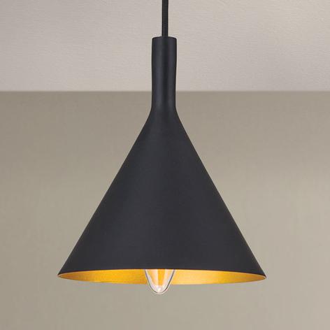 Lámpara colgante Gunda, forma cónica, negro-dorado
