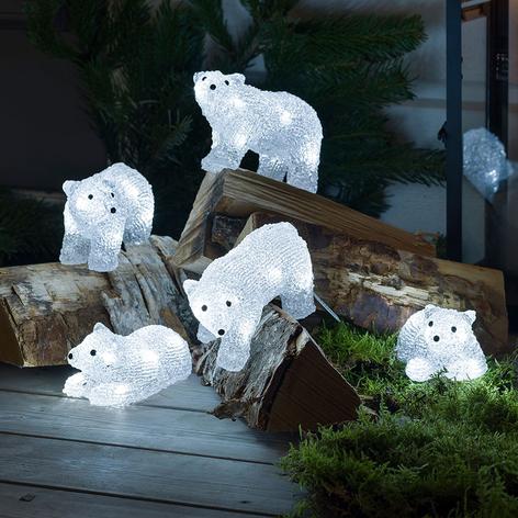 Figurines LED Ours polaire pour l'extérieur, par 5