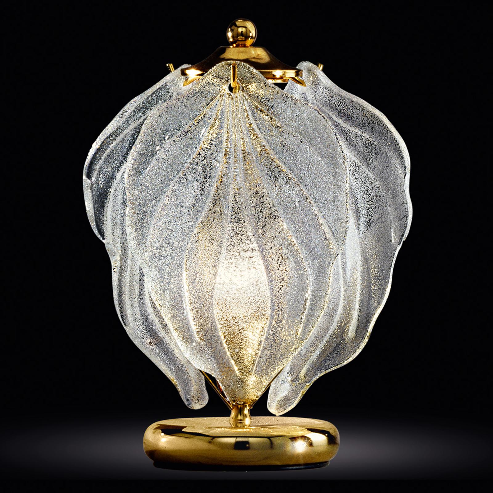 Lampada da tavolo Foglie in vetro di Murano