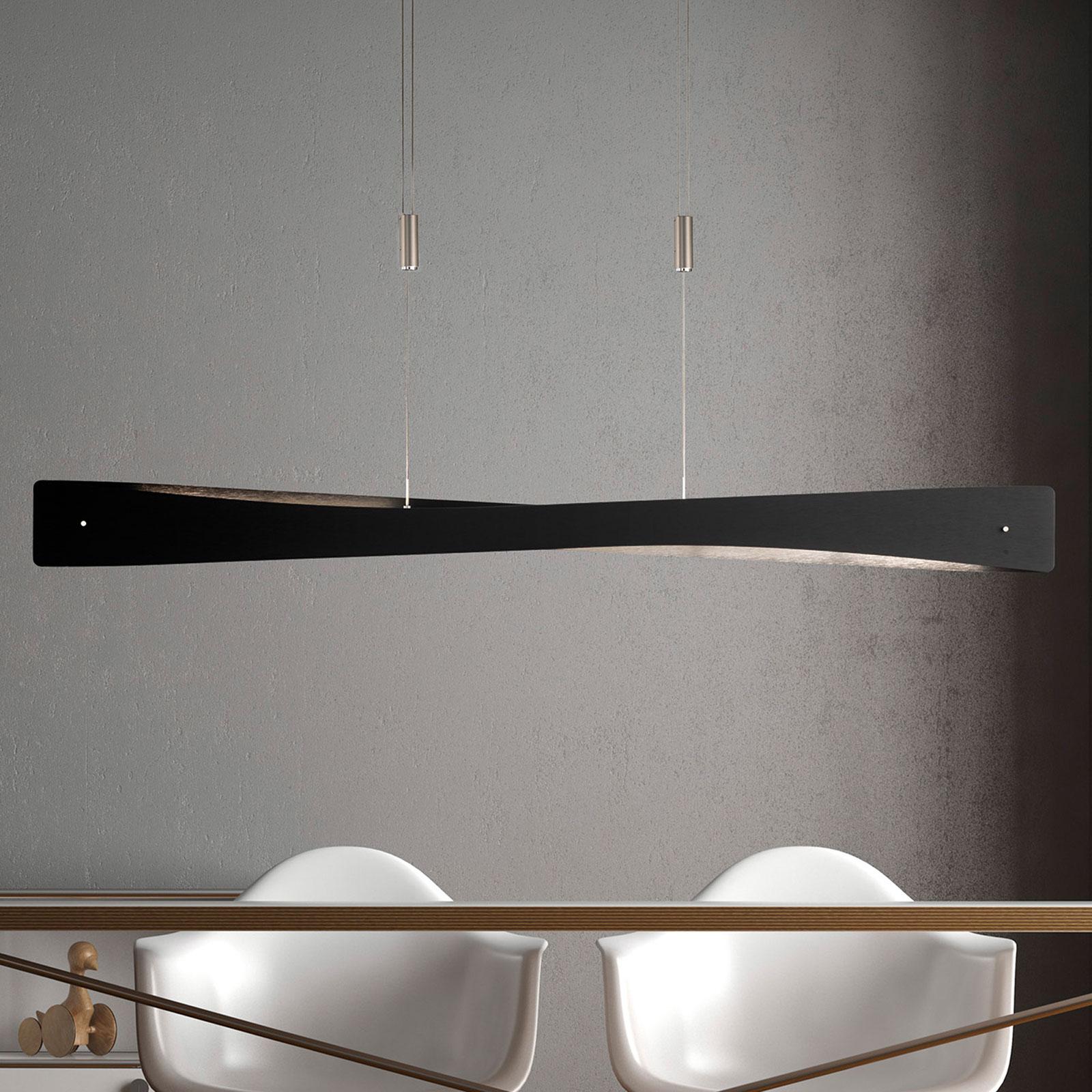 Lucande Lian lampa wisząca LED, czarna, aluminium