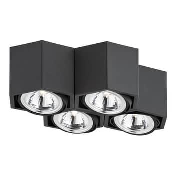 Plafoniera Elvas orientabile 4 luci nero