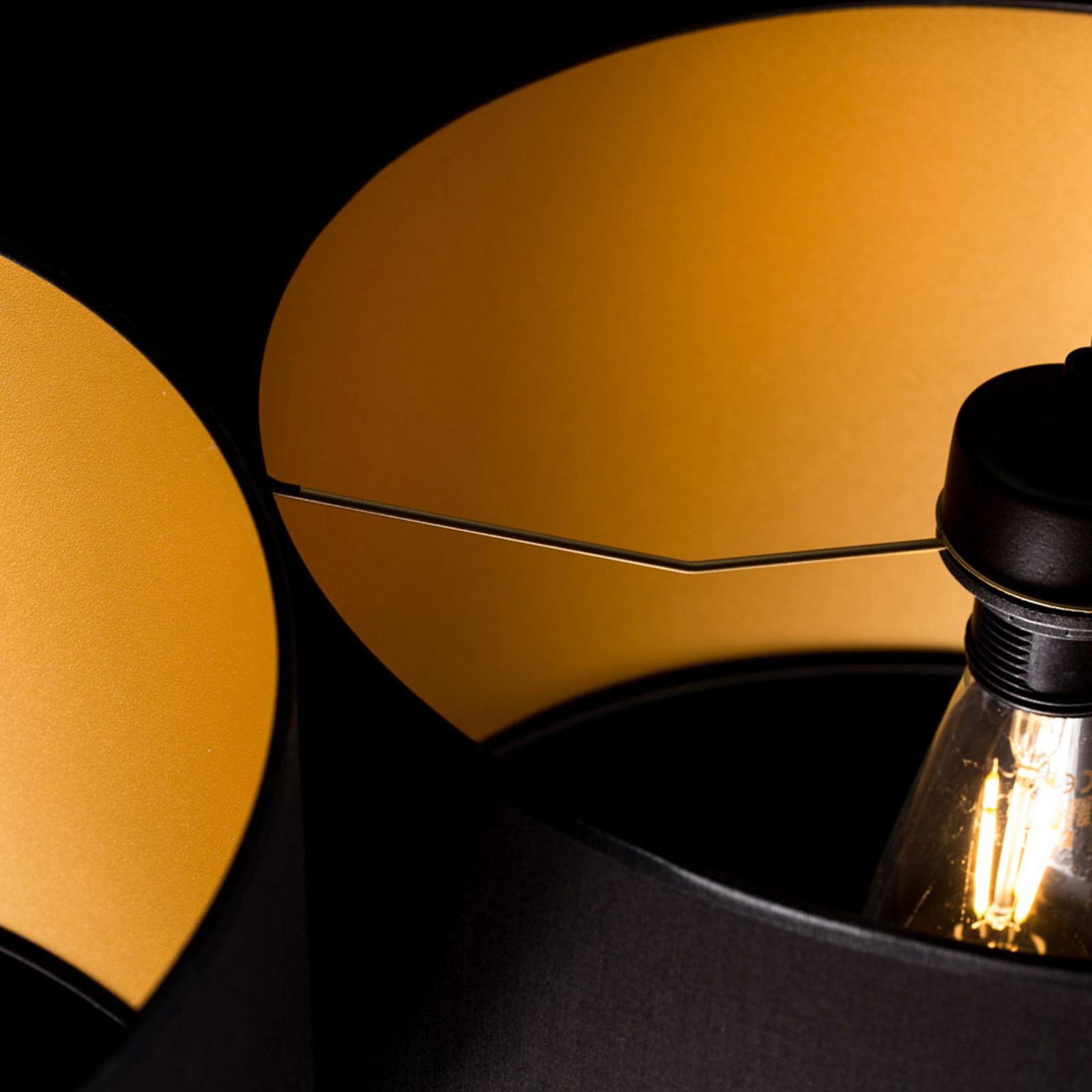 Hanglamp Roto 2 in zwart, kappen binnen goud