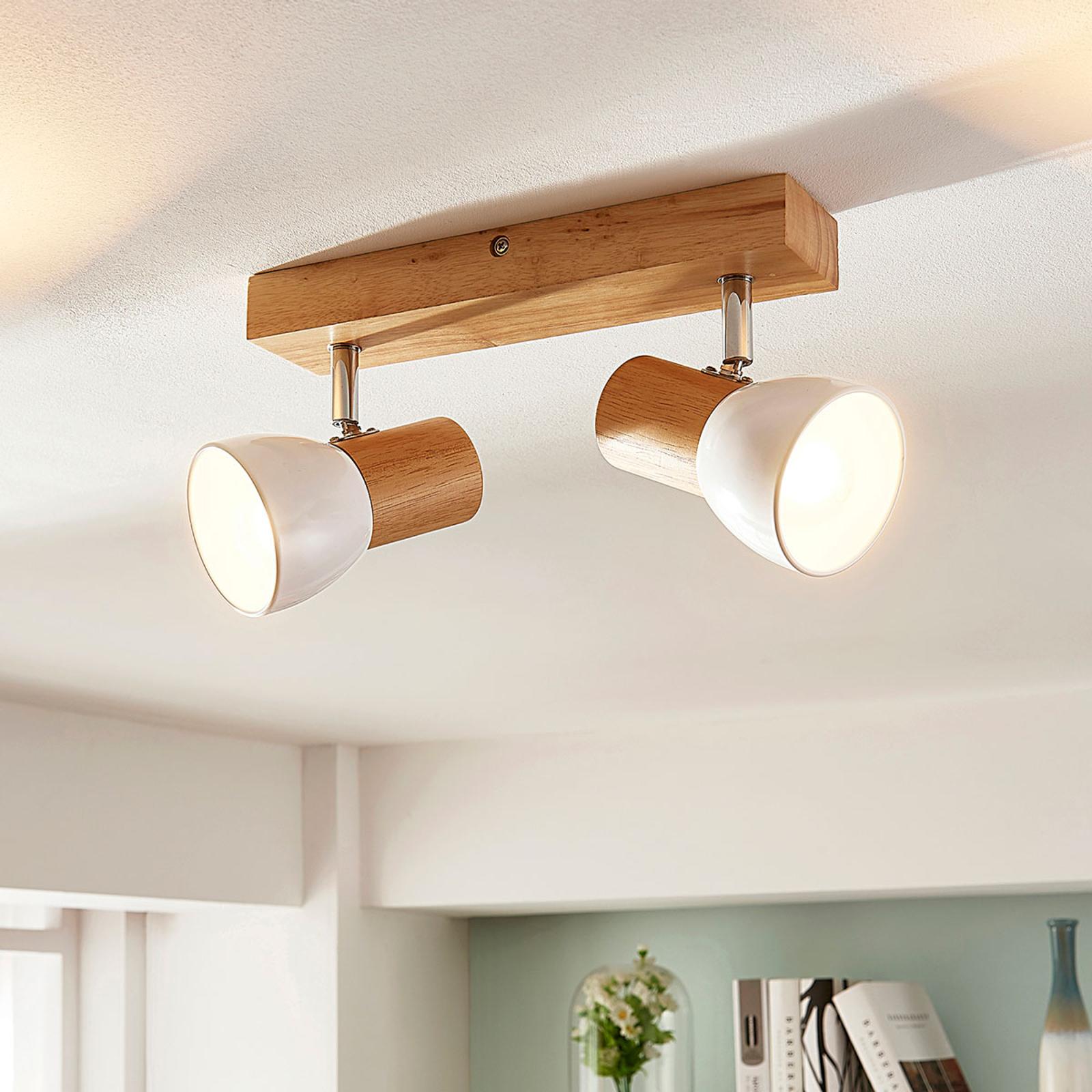 Thorin - Lámpara de techo de madera, 2 bombillas
