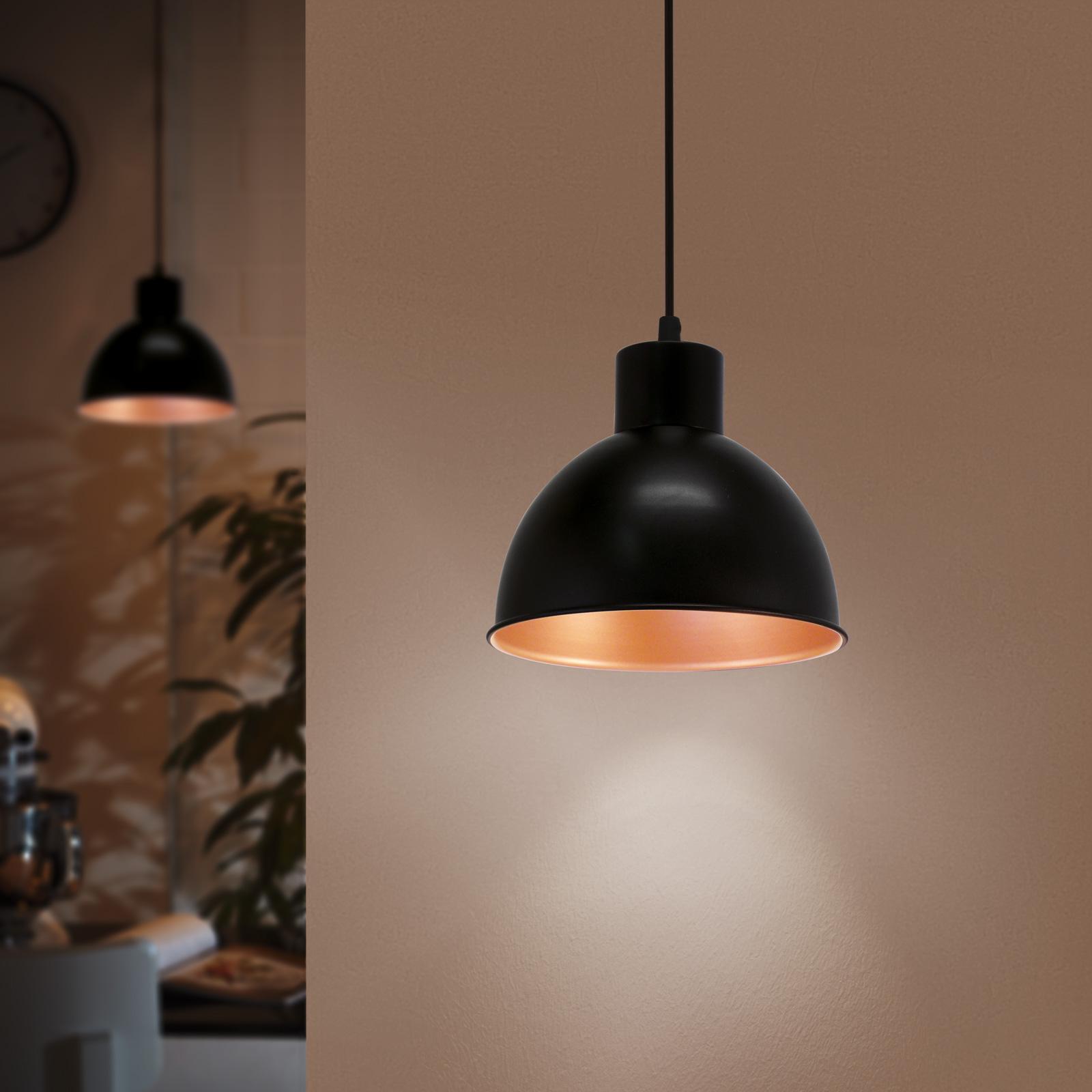 Svart hengelampe Andrin innvendig kobber | Lampegiganten.no