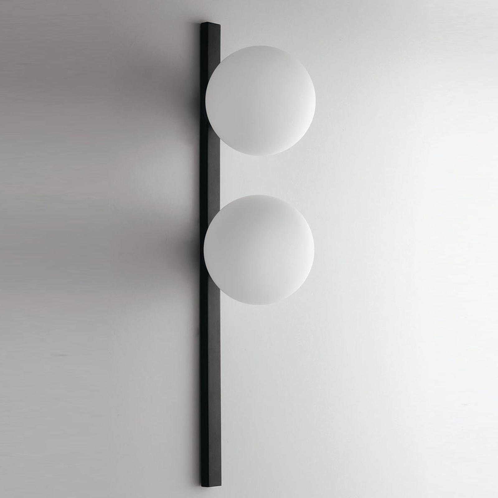Wandlamp Enoire in zwart en wit, 2-lamps