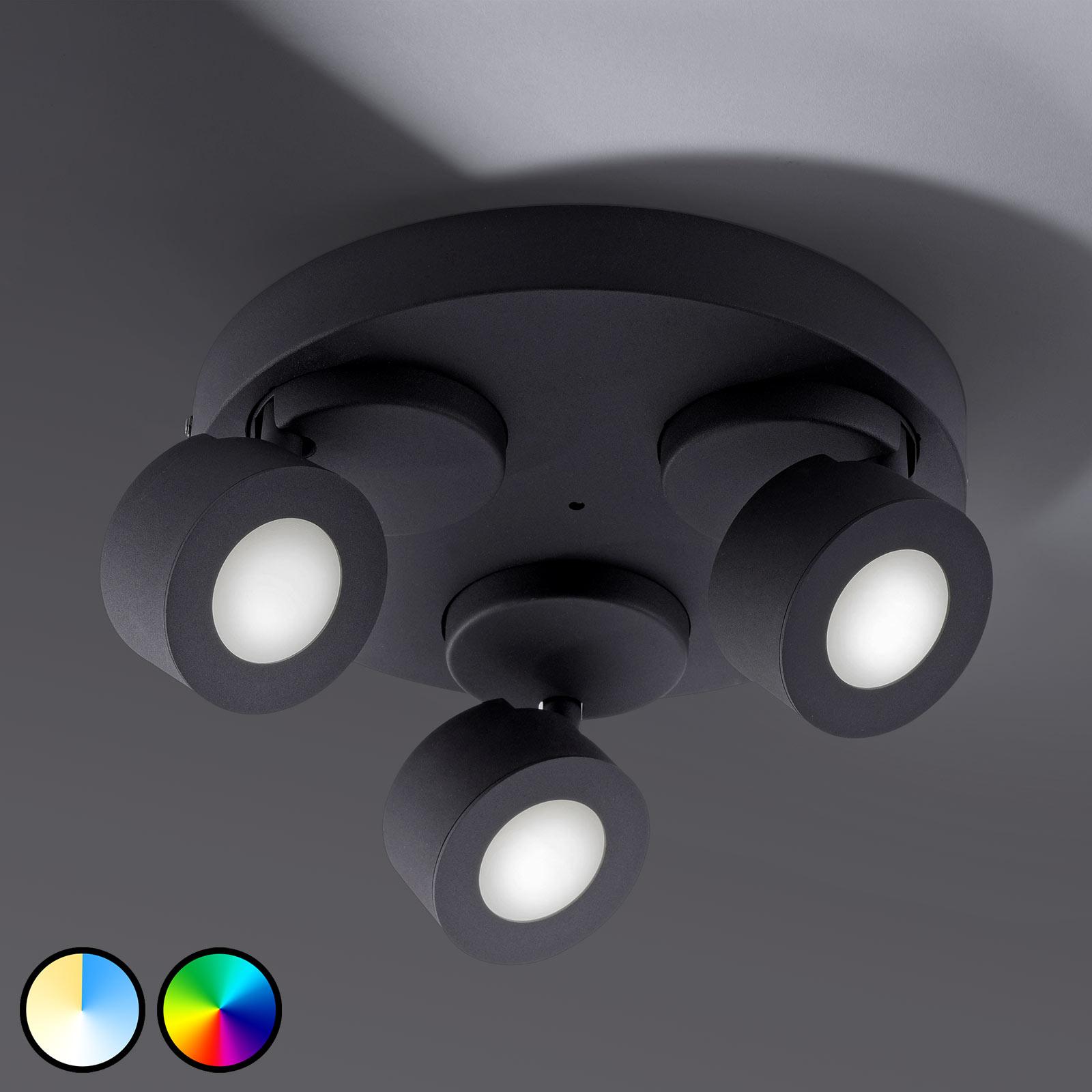 Trio WiZ Sancho lampa sufitowa LED 3-pkt. czarna