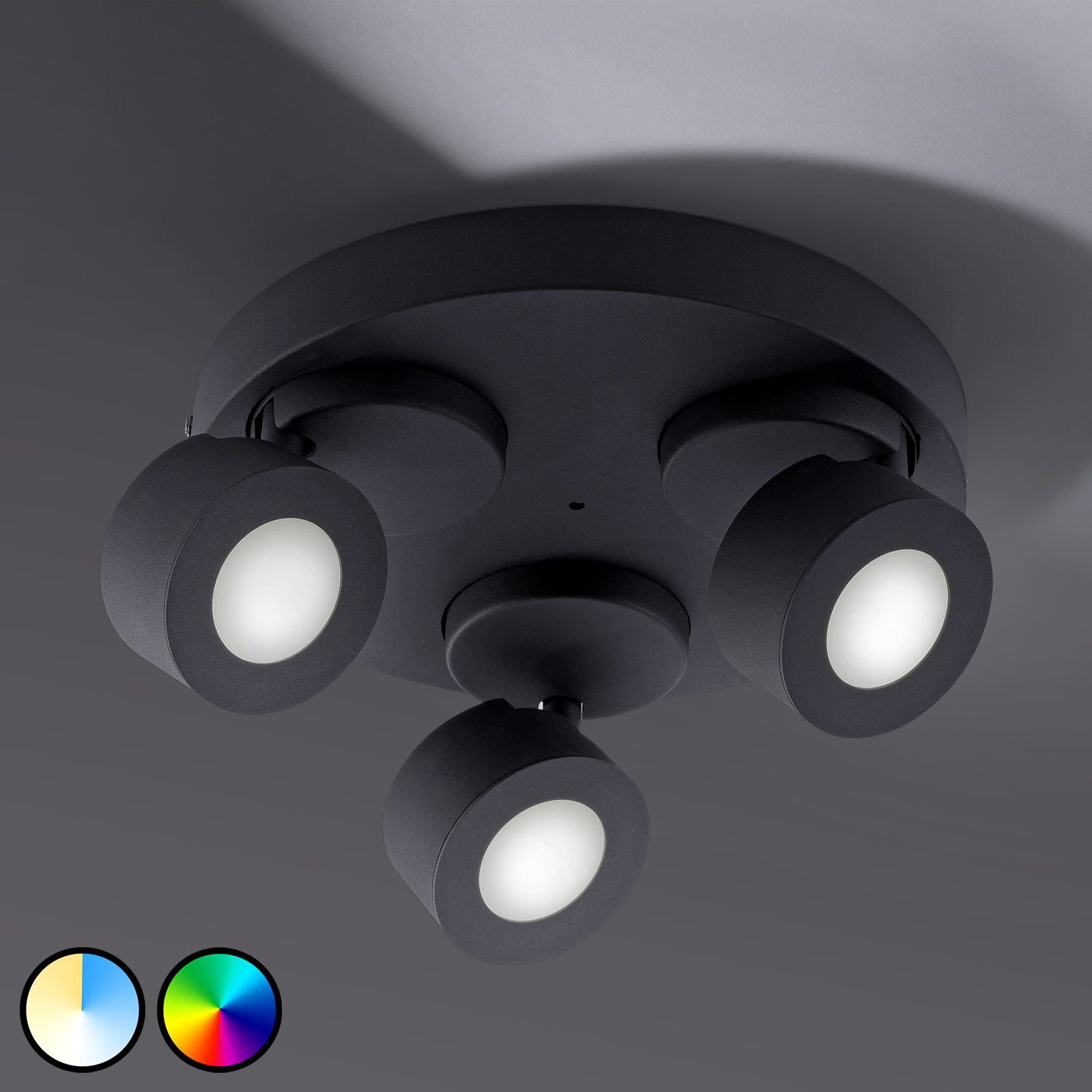 Trio WiZ Sancho LED-Deckenlampe 3-flammig schwarz