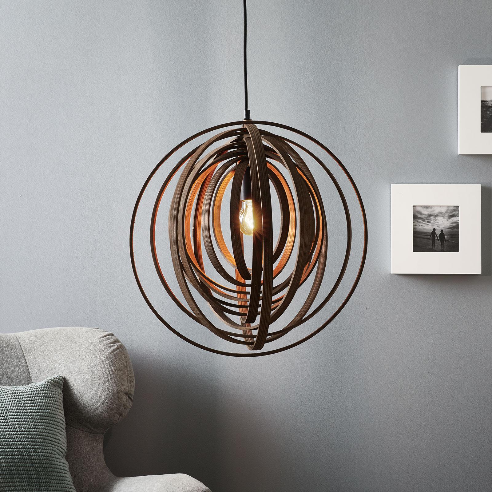Usædvanlig hængelampe Boolan - skærm brun