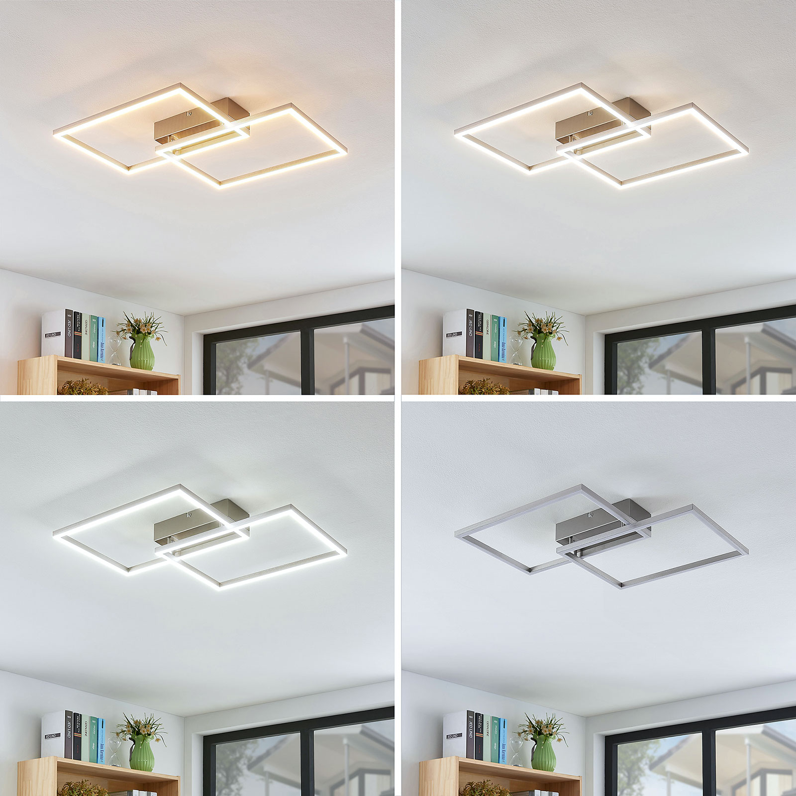 Plafonnier LED Quadra, dimmable, à 2 lampes, 50cm