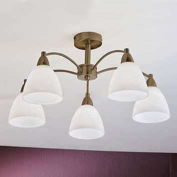 Taklampe Kinga i antikk messing, 5 lyskilder