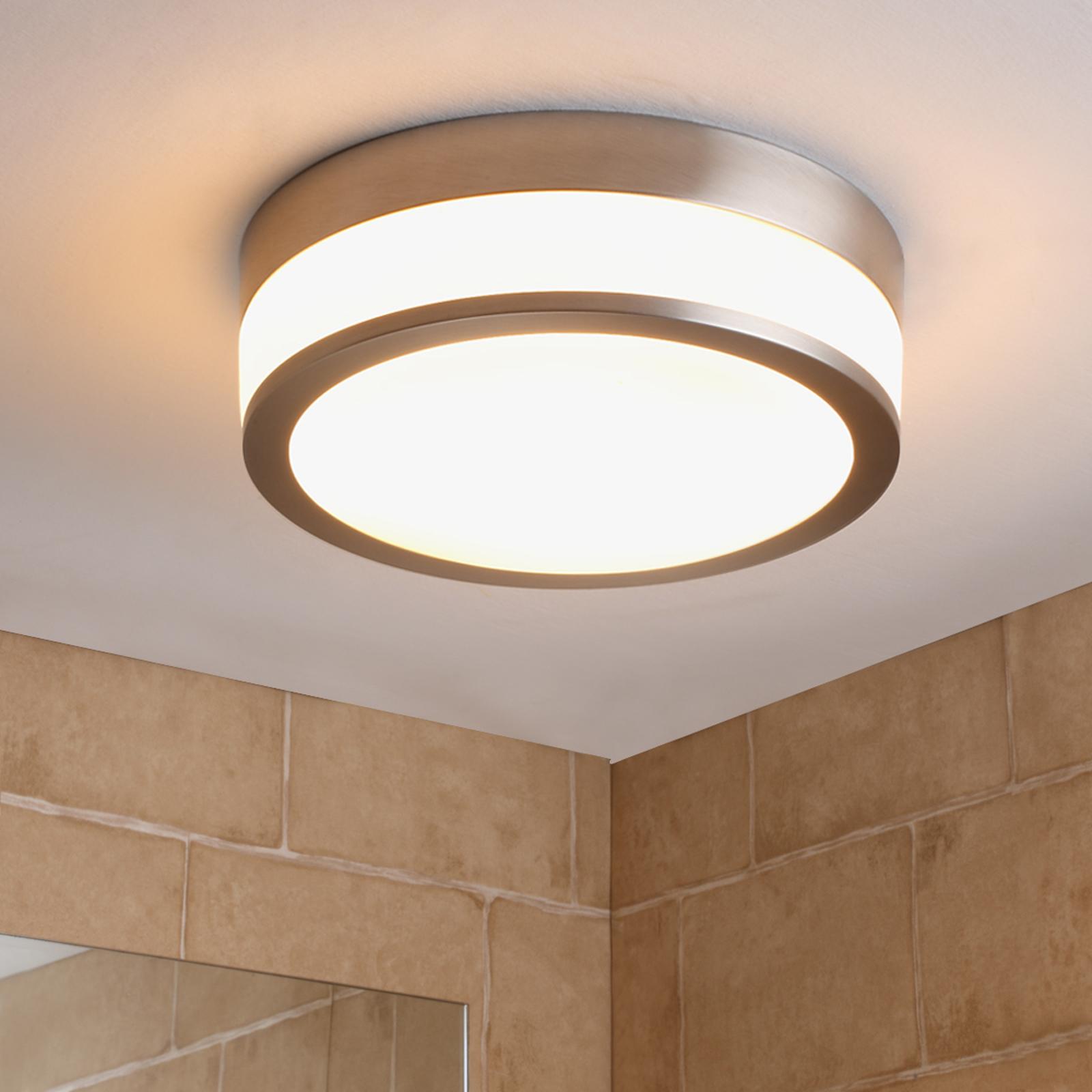 Lindby Flavi LED-loftlampe til badet 28 cm, nikkel