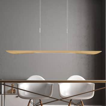 Lucande Hiba LED-pendellampa ek natur 148 cm