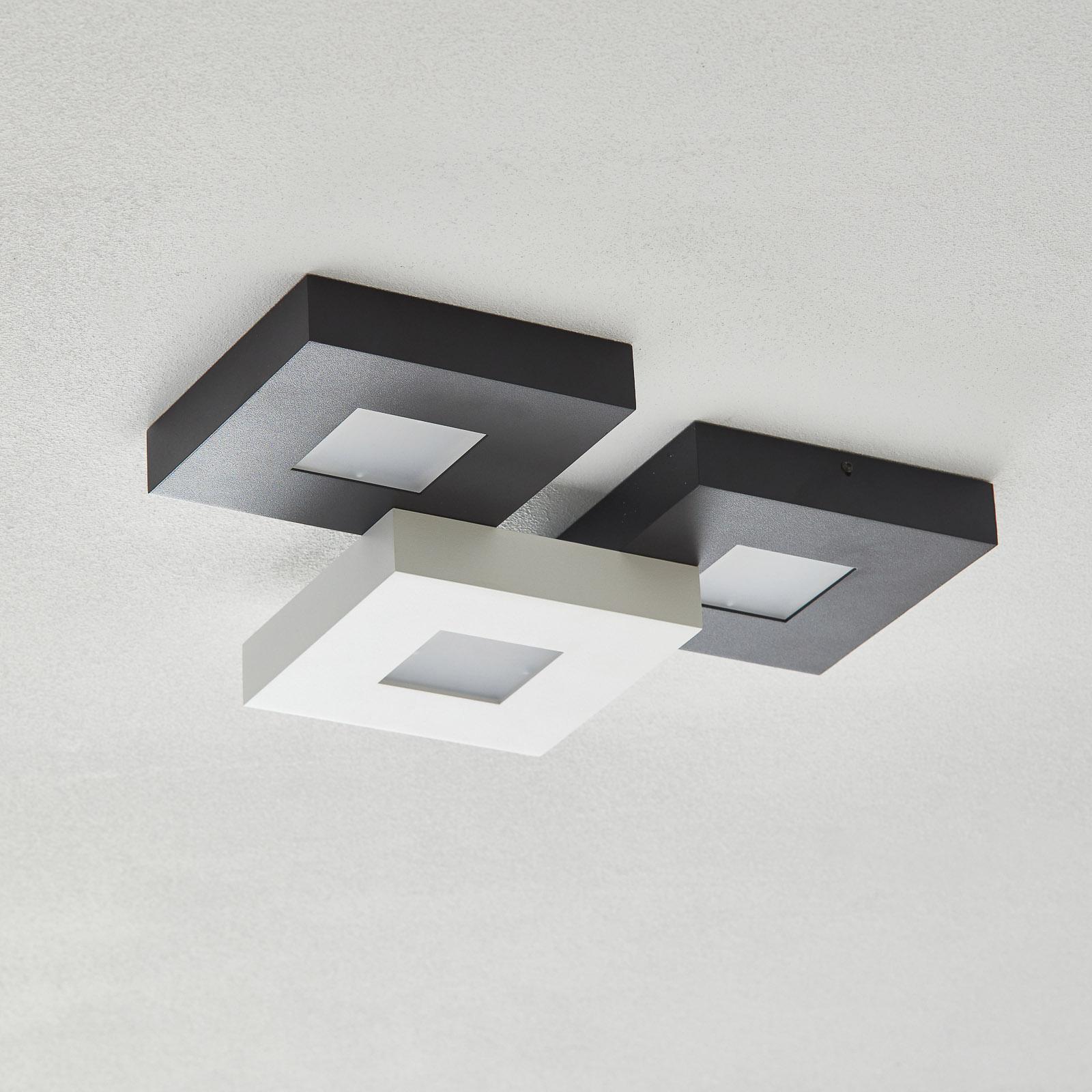 LED-taklampe Cubus med 3 lys, svart-hvit
