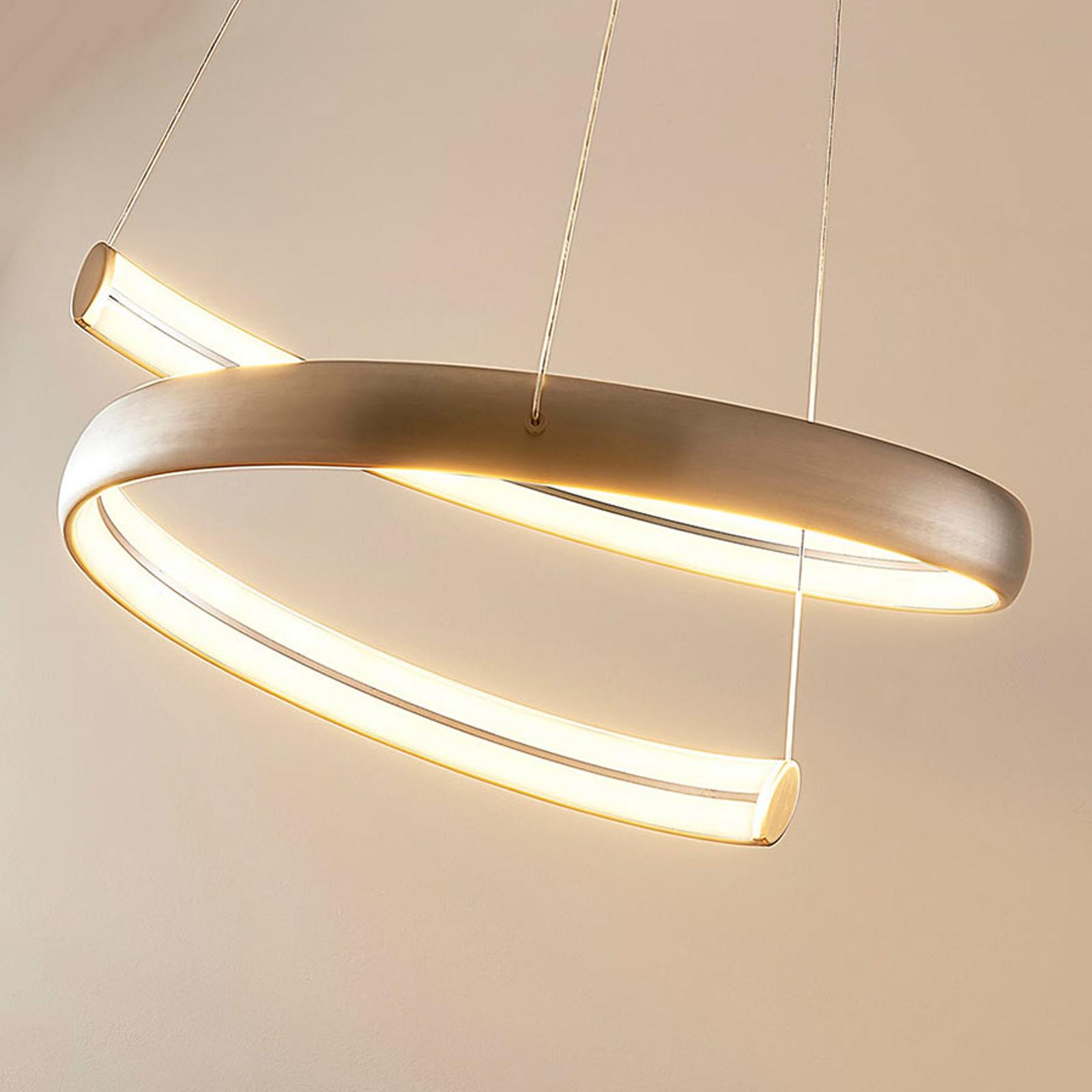 LED-Hängeleuchte Risto in Nickel, spiralförmig