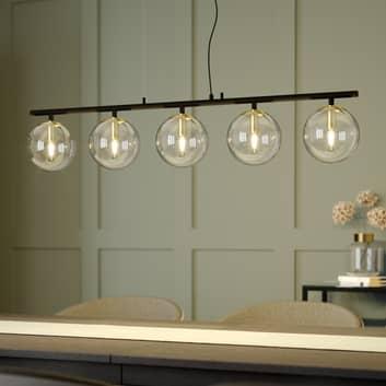 Lucande Sotiana hänglampa, glaskulor, 5 lampor