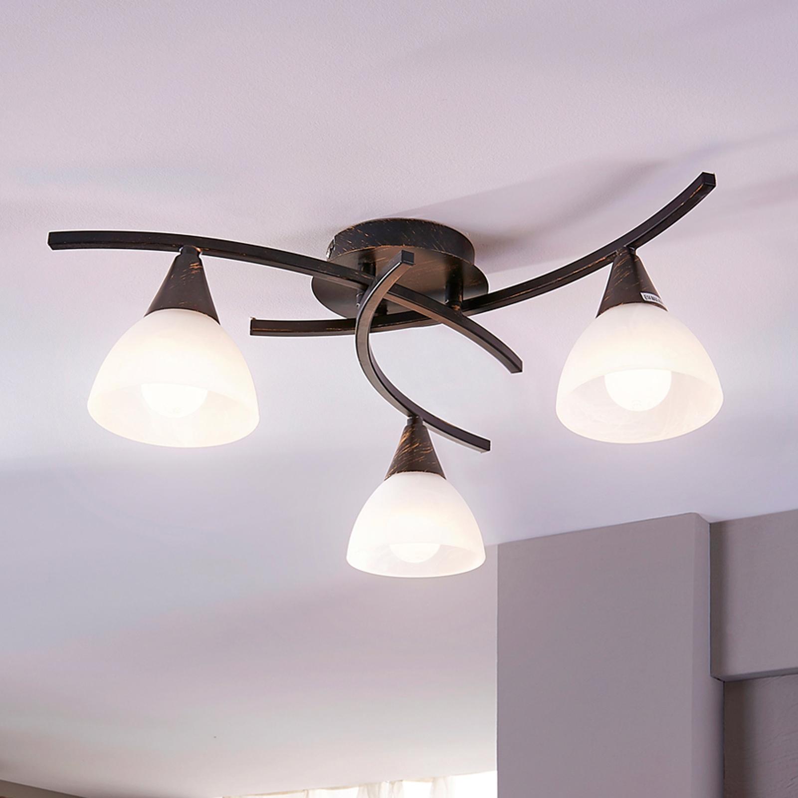 Dreiflammige LED-Deckenlampe Della, schwarz-gold