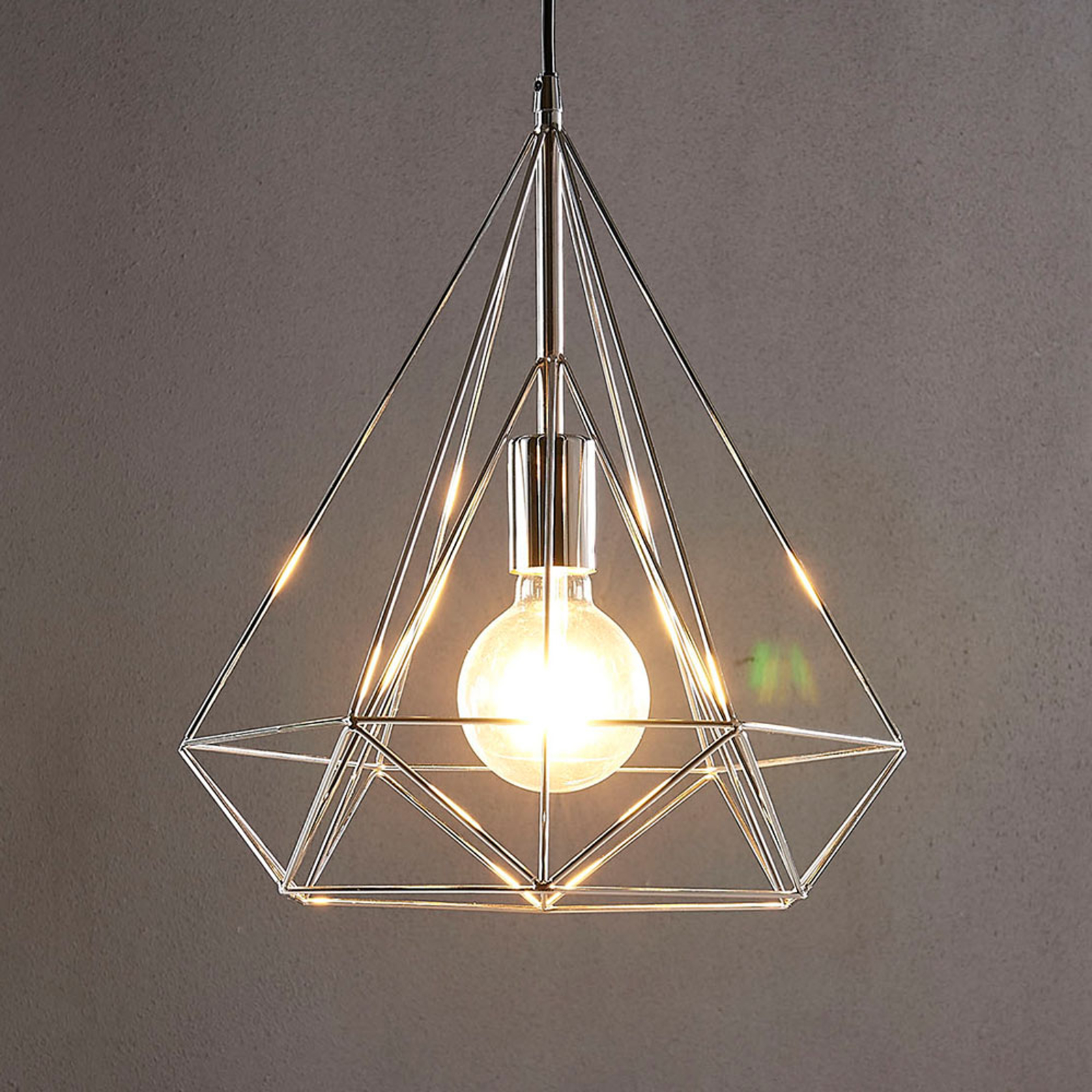 Chrome Plated Pendant Light Nael In Cage Shape Lights Co Uk