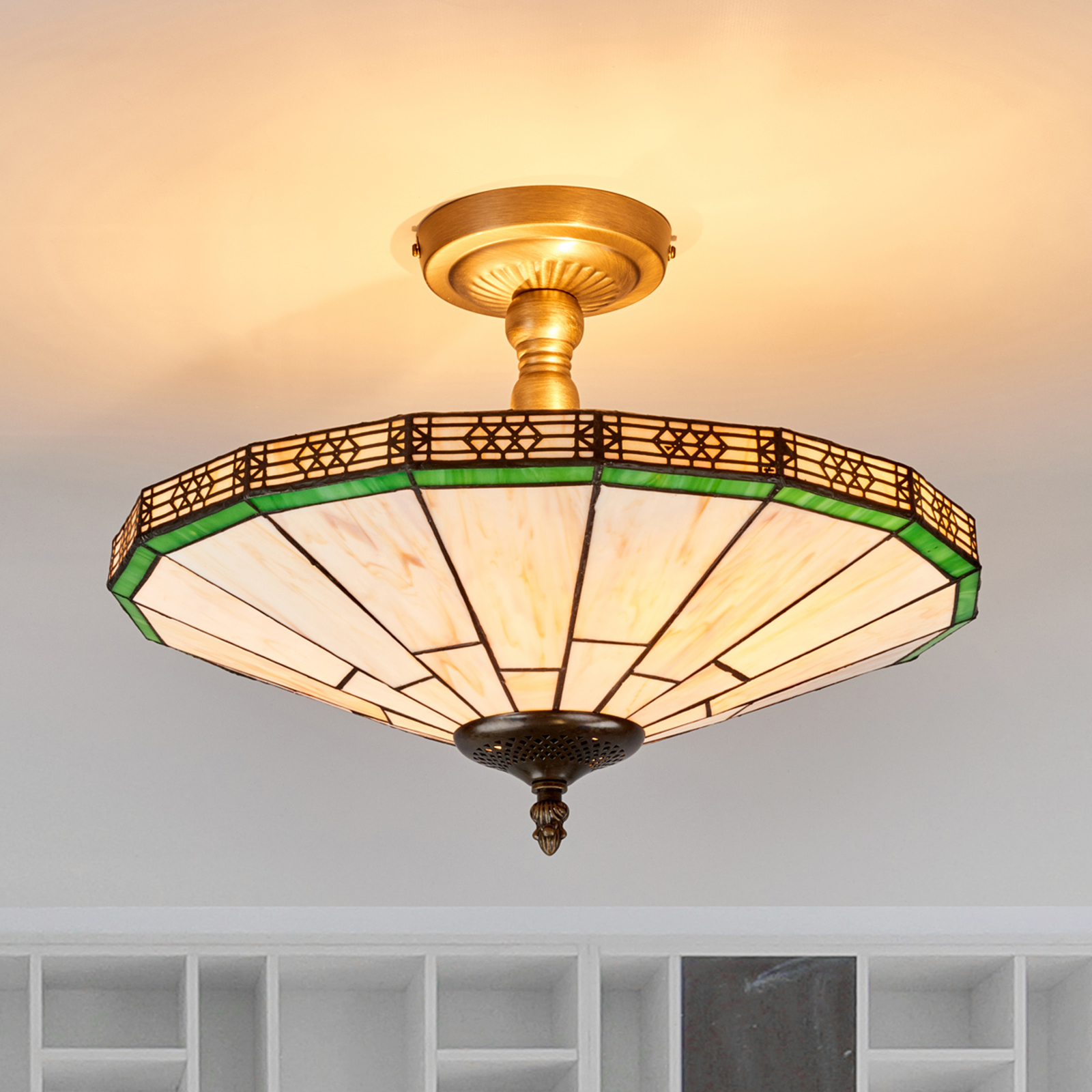 New York - klasyczna lampa sufitowa, styl Tiffany