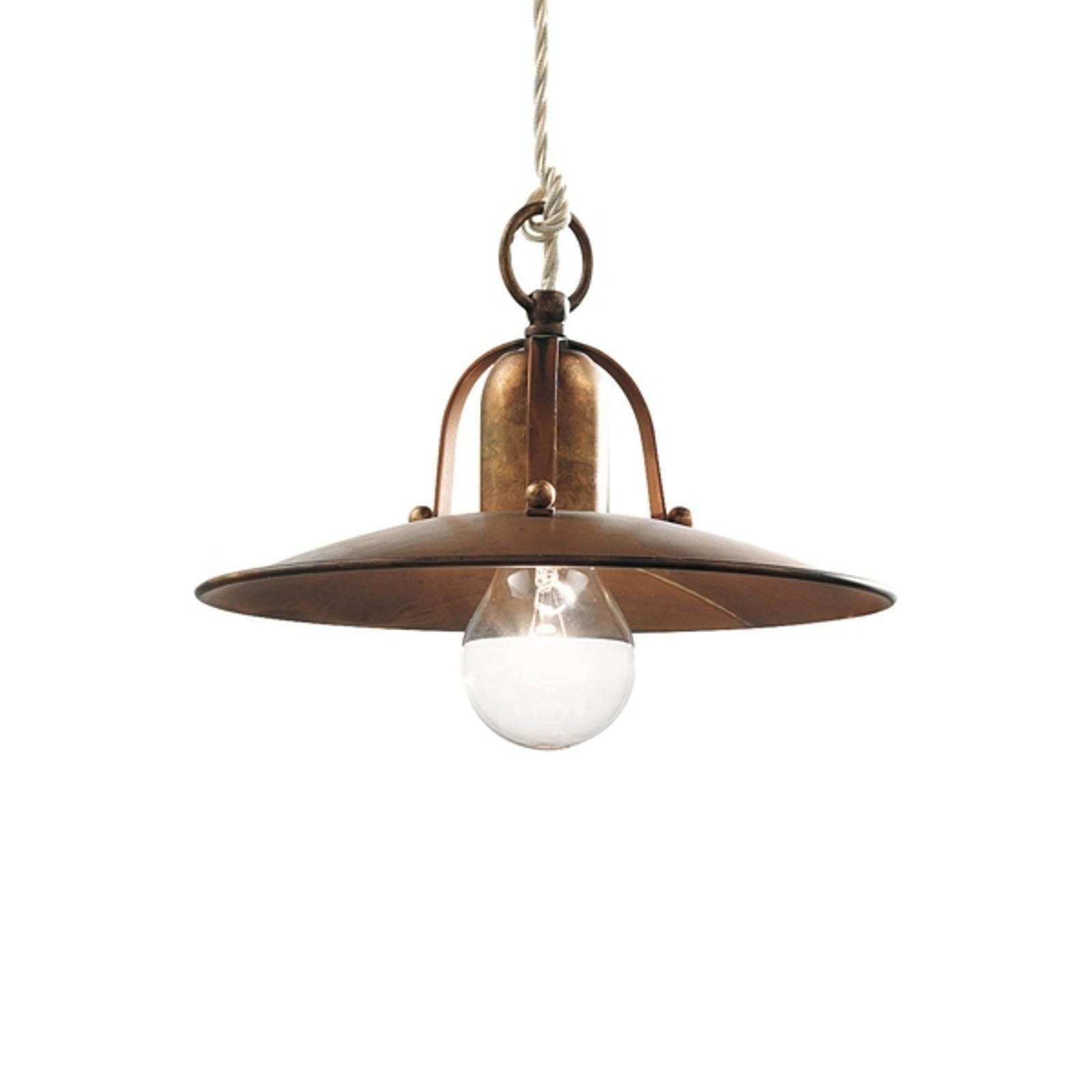 Rustikální závěsné světlo Osteria 24 z mosazi