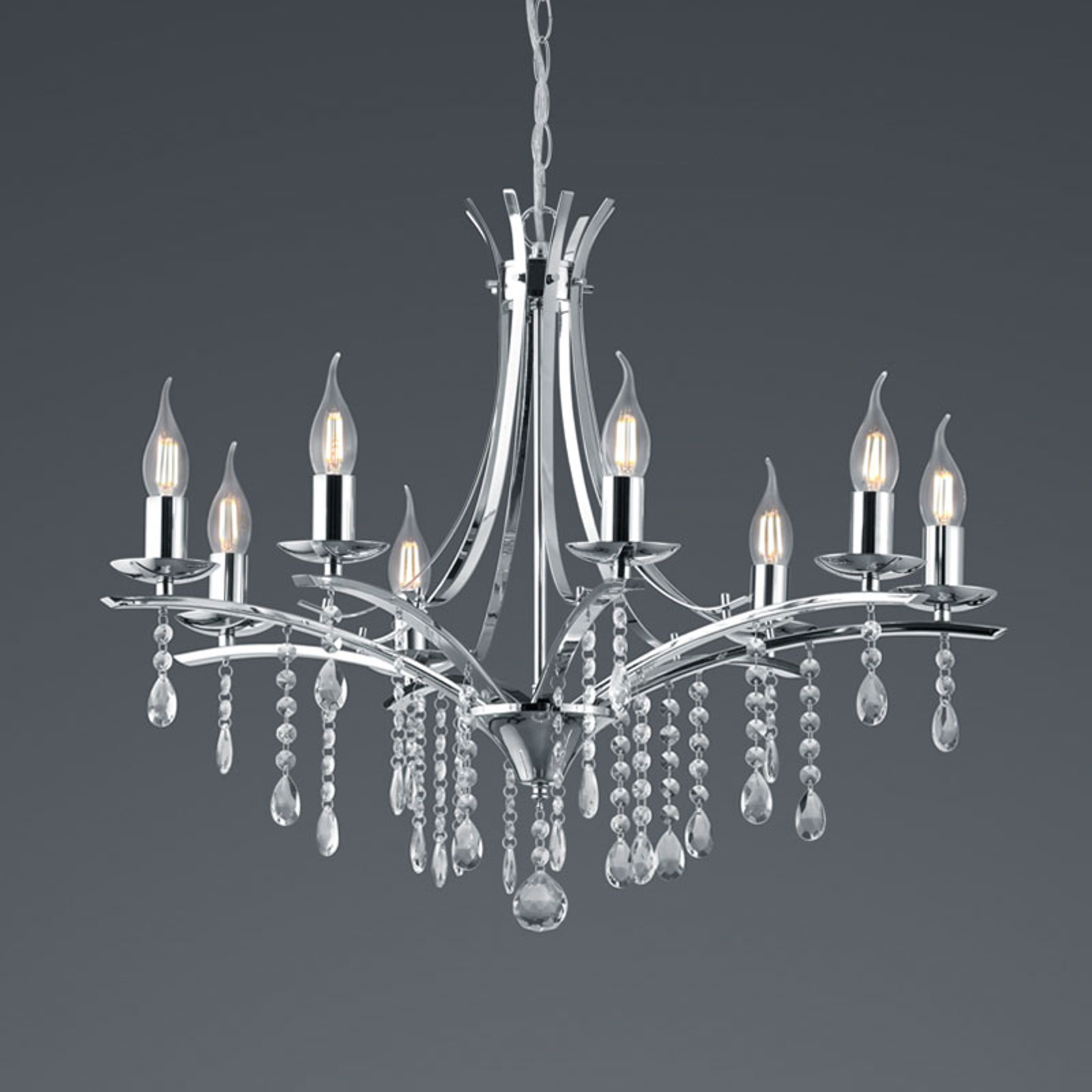 Kroonluchter Lucerna met glasbehang, 8-lamps