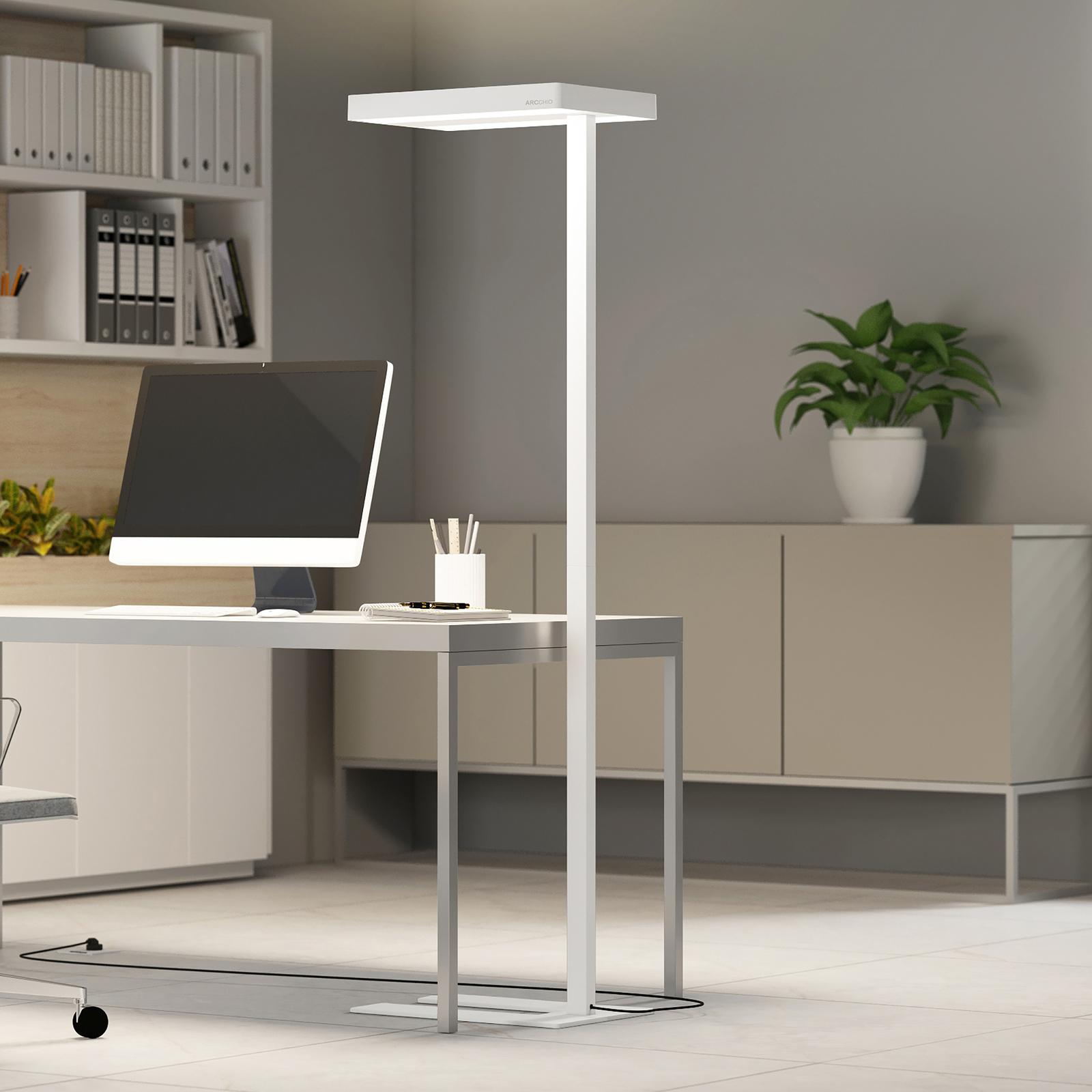 Arcchio Kalem Büro-Stehleuchte, rund, weiß