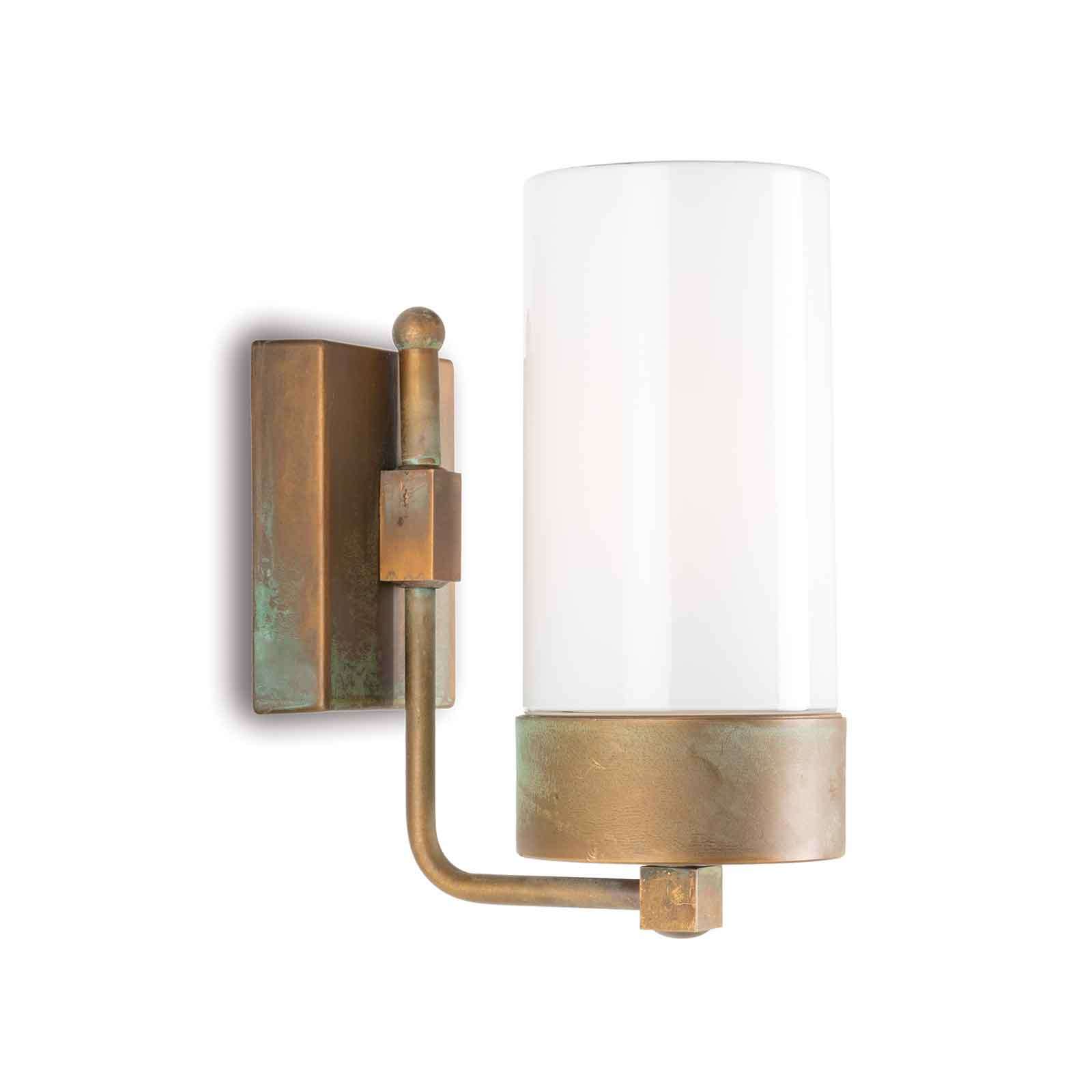 Buitenwandlamp Silindar 3390, messing antiek/opaal