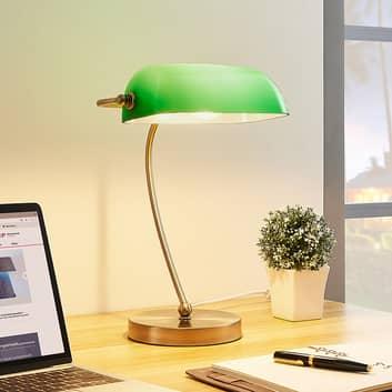 Lampe de banquier Selea avec abat-jour vert