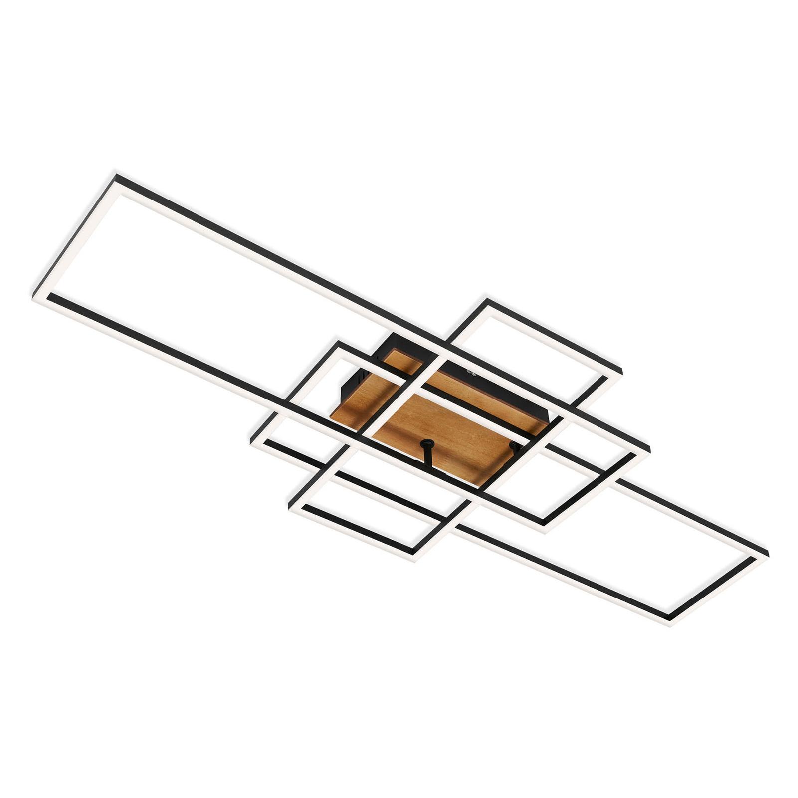 Plafonnier Frame CCT, télécommande, noir/bois