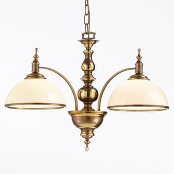 Taklampa Corolla i antikmässing, två ljuskällor