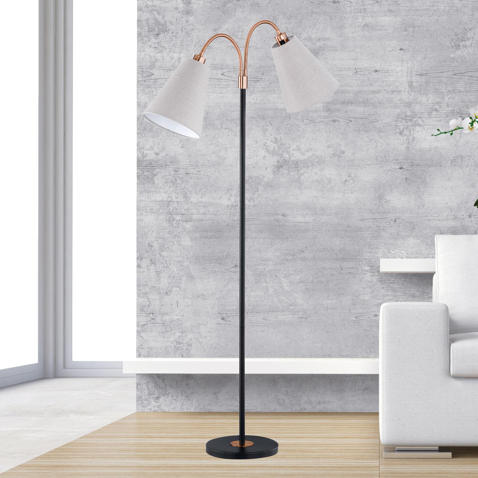 Lampadaire à deux lampes Hopper, noir-bronze