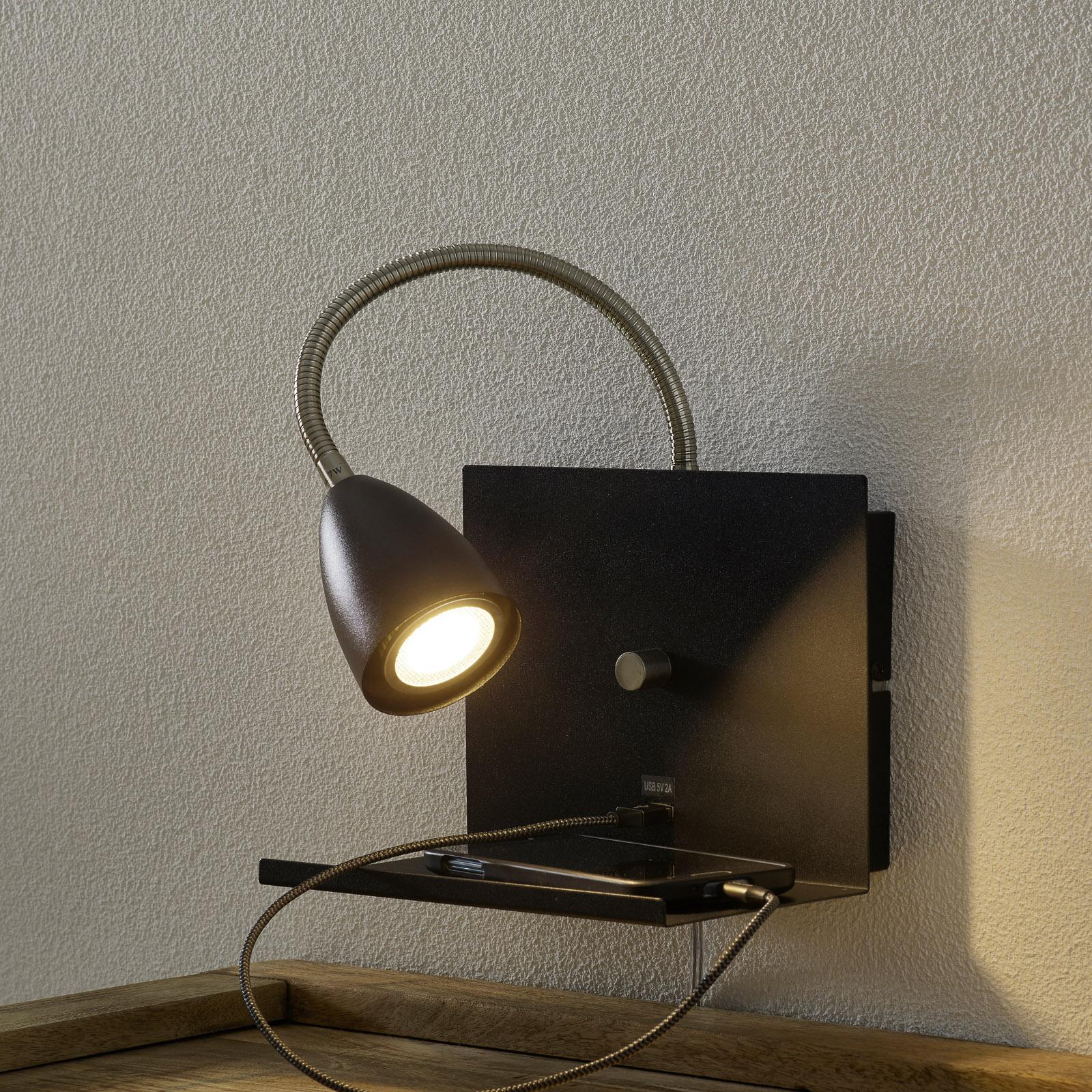 Wandlamp Logi met plank, zwart