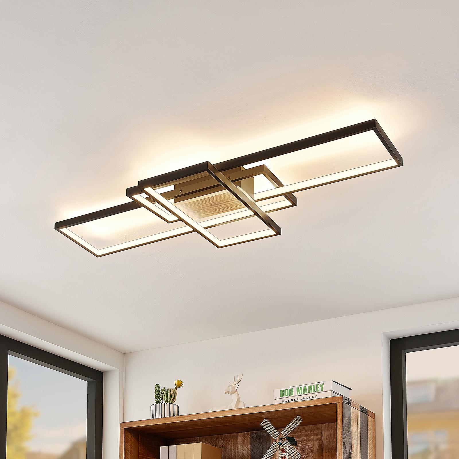 Lindby Emiljan LED plafondlamp, zwart mat