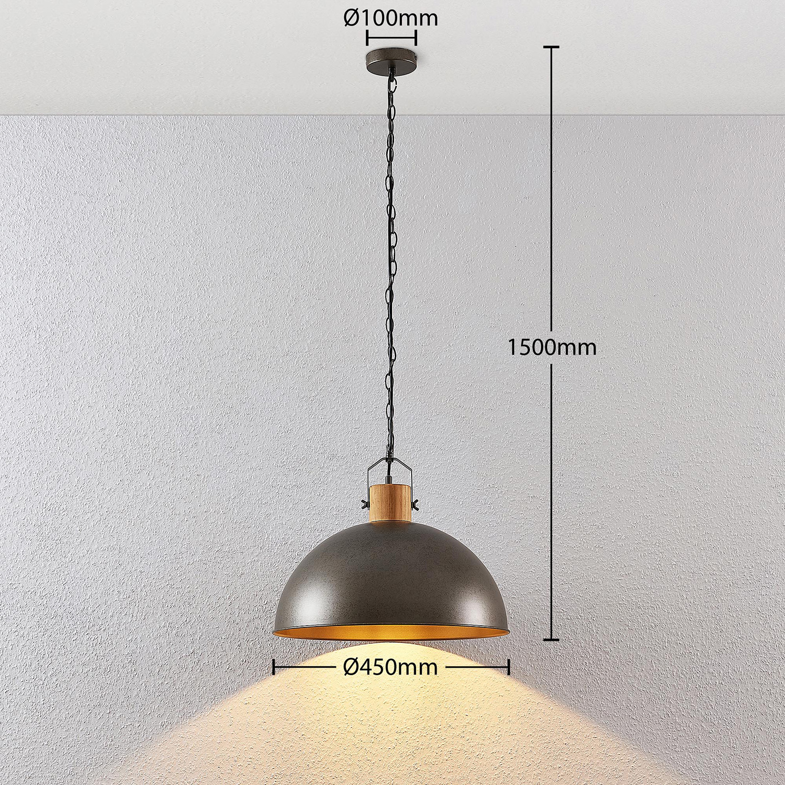 Lindby Holgar Hanging Lamp Metal Lampshade 1 Bulb Lights Co Uk