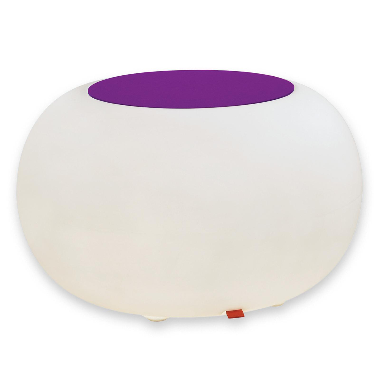 Bijzettafel BUBBLE, RGB-LED met violet vilt