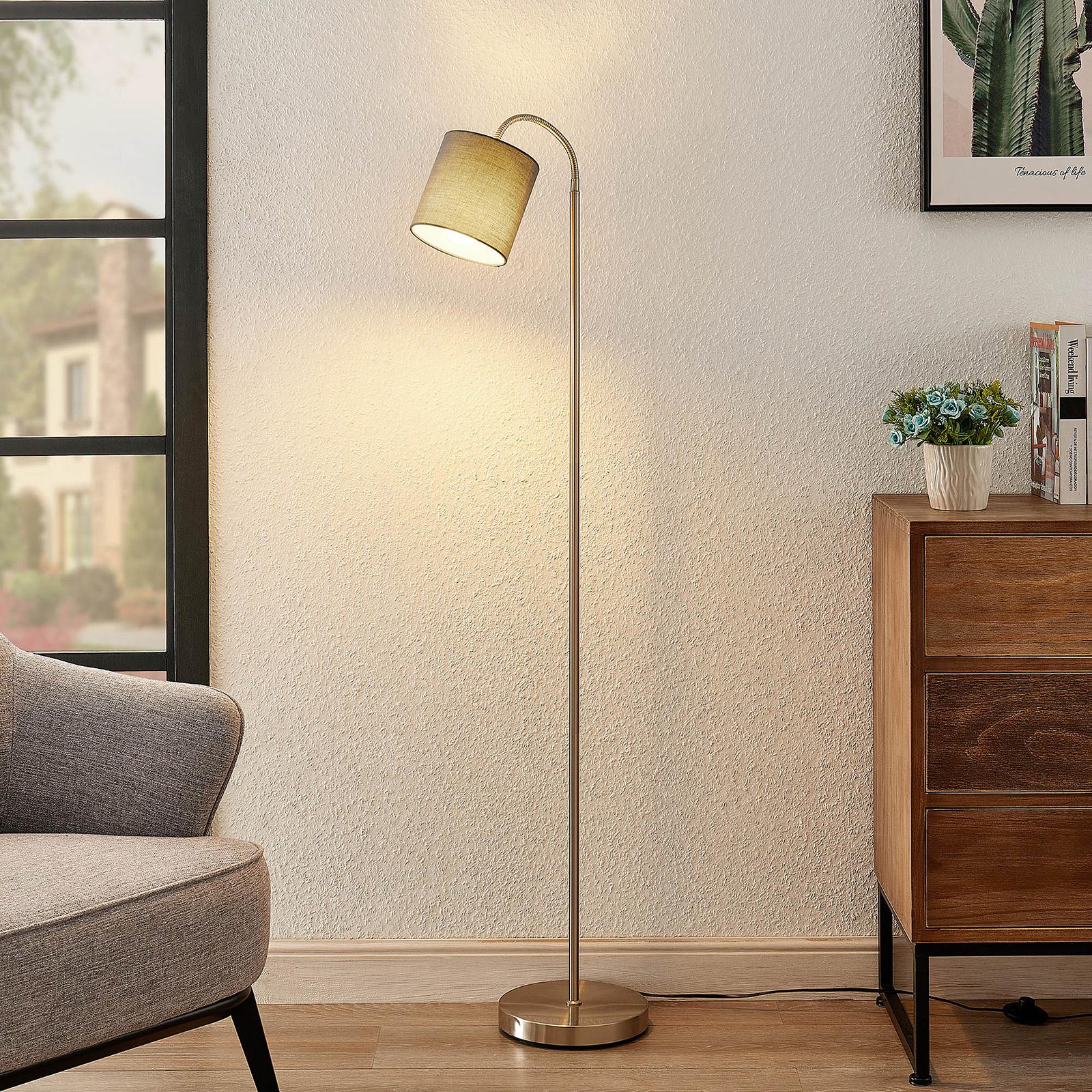 Lindby Manu golvlampa, textil, 1 lampa, grå
