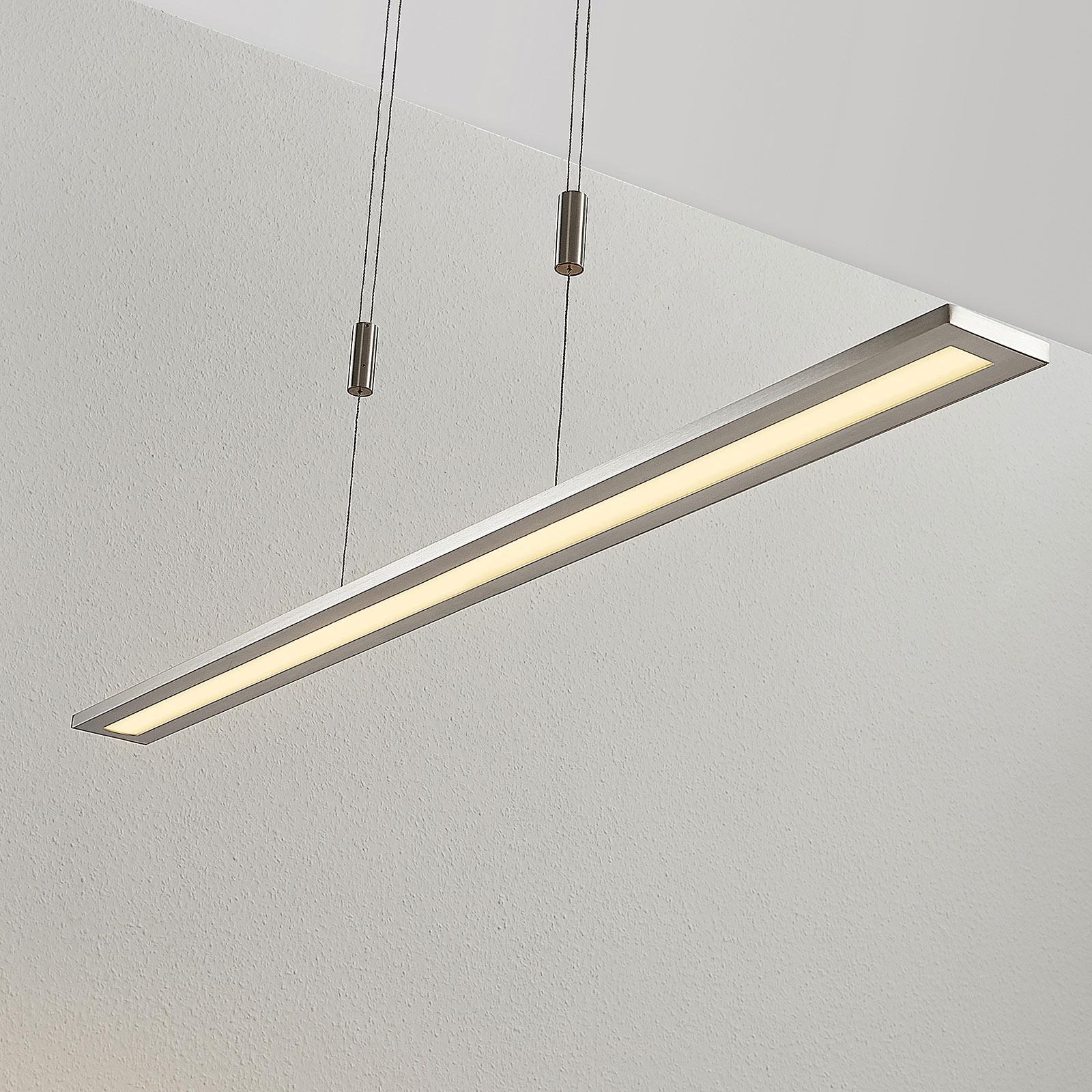 LED závěsná lampa Esteban v niklu, stmívatelná