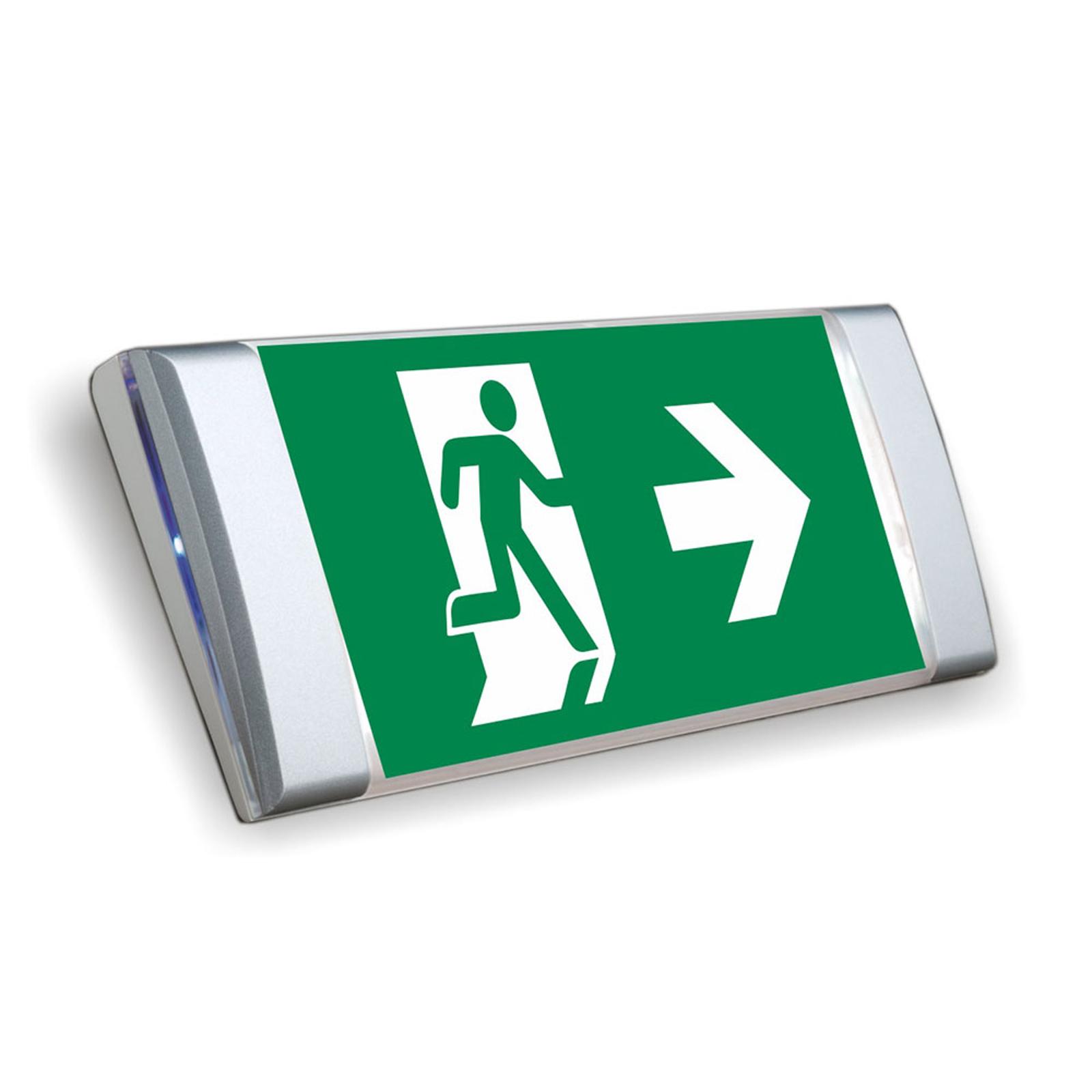 Flat LED emergency wall light, aluminium finish_3002227_1
